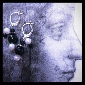 Pearl and Onyx Cluster Earrings